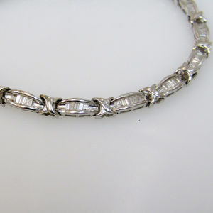 Solid White Gold Baguette Diamond Tennis Bracelet